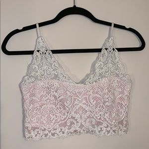 Tops - Lace white & pink crop top